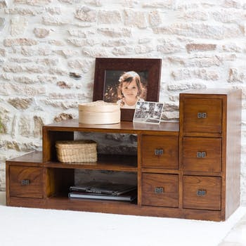 Meuble TV escalier avec tiroirs en bois de style exotique