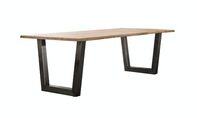 Table a manger bois massif verni pied metal style vintage