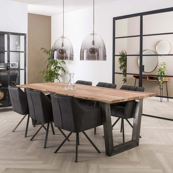 Table de repas rectangulaire vintage bois acacia et pied metal