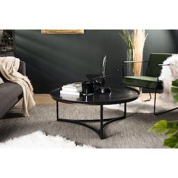Table basse ronde en metal noir de style contemporain