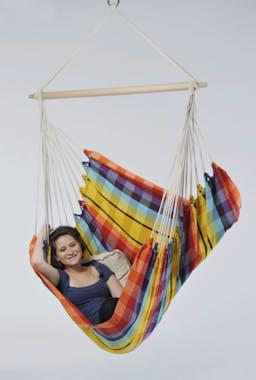 Hamac chaise suspendu BRASIL Rainbow Jaune 160x130cm AMAZONAS