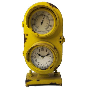 Horloge à poser vintage effet vieilli jaune