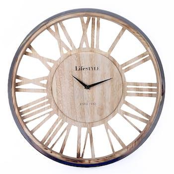 Horloge ajourée effet bois D 48 cm