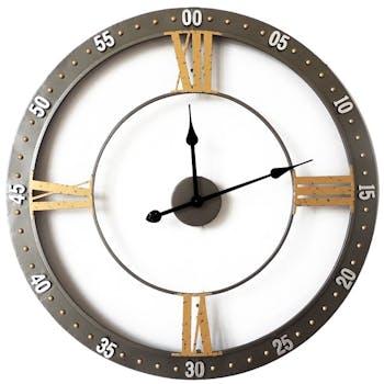 Horloge design façon chronomètre métal