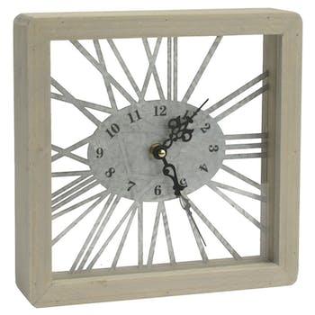 Horloge en bois et métal écru 22x22cm