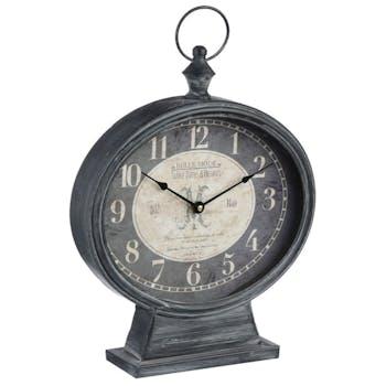 Horloge en métal à poser façon montre gousset style Vintage 31.5 X 45 cm - Coloris Noir