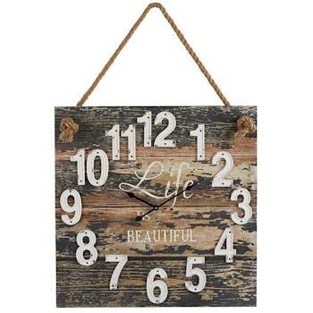 Horloge murale carrée en bois
