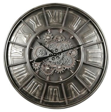 Horloge murale engrenages fond gris