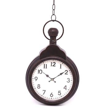 Horloge murale façon gousset avec chaîne en métal effet vieilli 49,5x7x31cm
