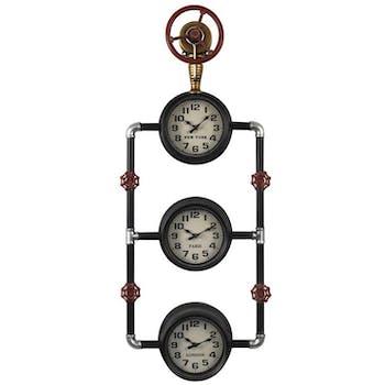Horloge murale industrielle tuyaux