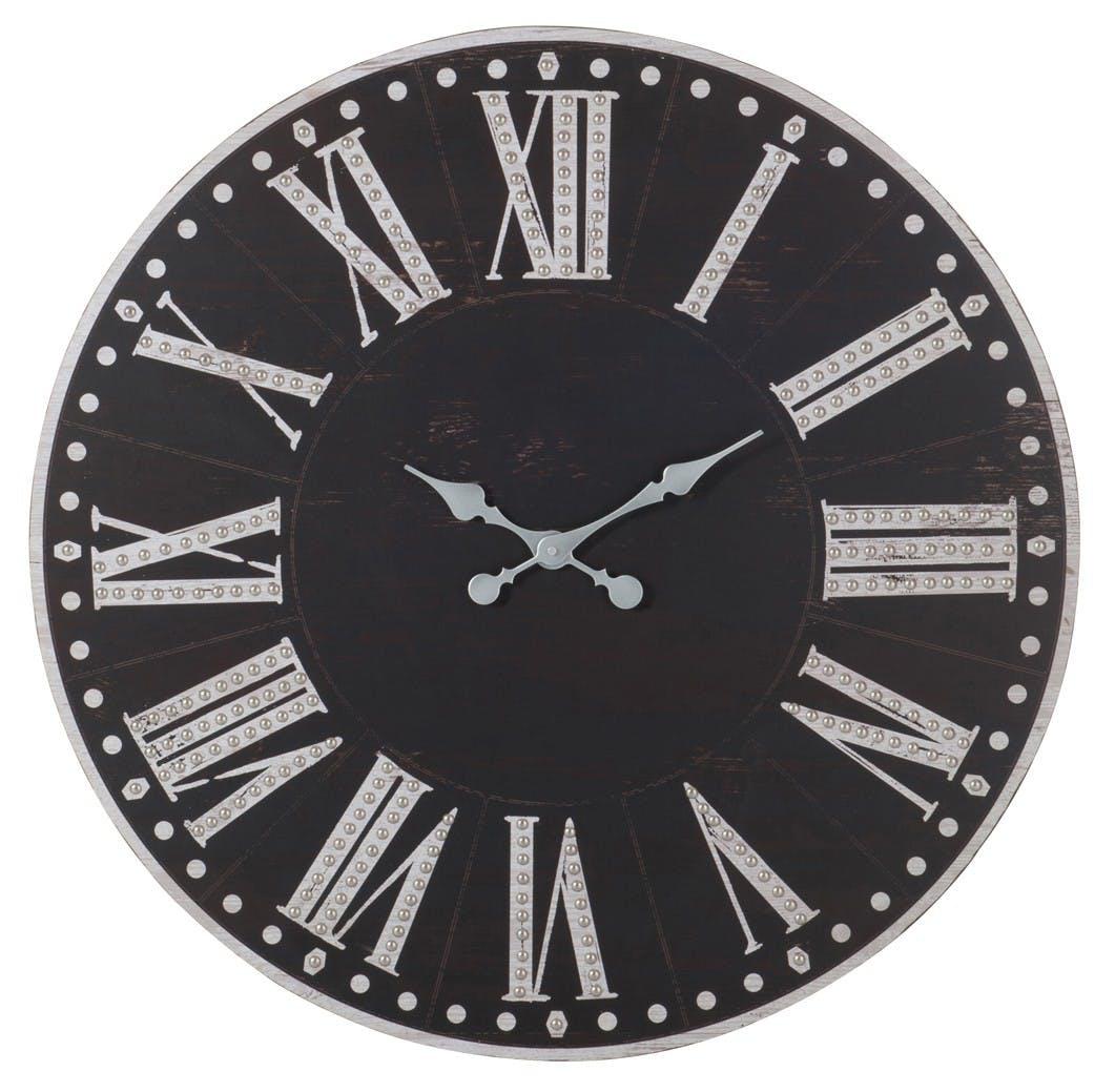 Noir Brillant Profond Rond Chiffre Romain métal traditionnel Horloge murale B18