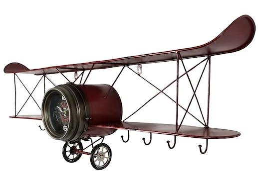 Horloge murale vintage avion biplan