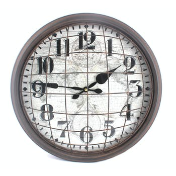 Horloge ronde métal couleur ébène style mappemonde D40cm