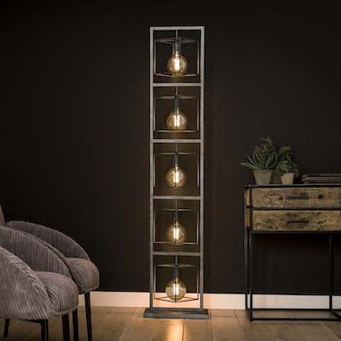 Lampadaire industriel 5 lampions XL métal vieilli TRIBECA