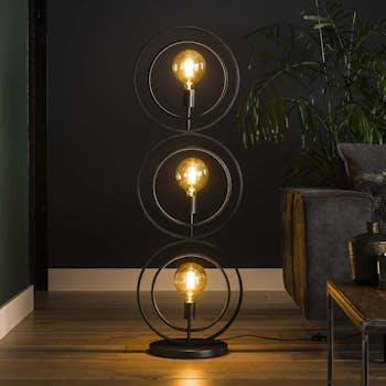 Lampadaire industriel anneaux doubles 3 lampes TRIBECA