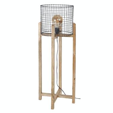 Lampadaire industriel grillagé support bois de manguier LUCKNOW