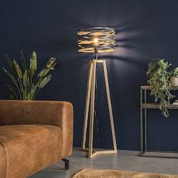 Lampadaire moderne gris effet ruban pied bois naturel LUCKNOW