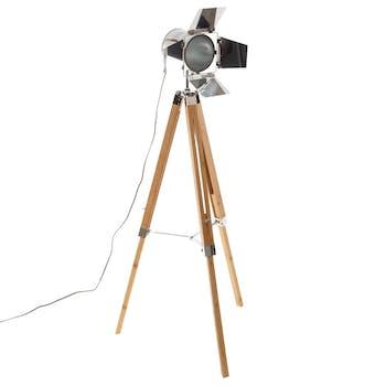 Lampadaire projecteur en métal et pieds bambou H 139 cm
