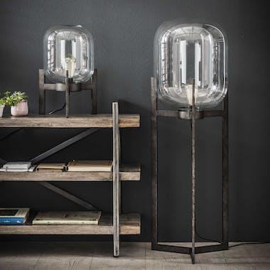 Lampadaire verre et métal vintage