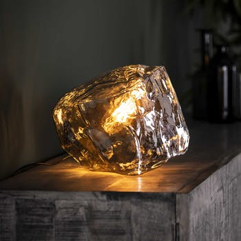 Lampe à poser contemporaine effet glaçon finition chromée NIAGARA