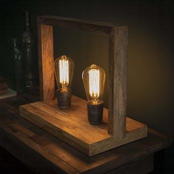 Lampe à poser double cadre en bois LUCKNOW