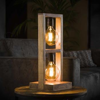 Lampe à poser en bois 2 niveaux LUCKNOW