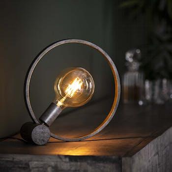 Lampe à poser industrielle cercle finition argent vieilli RALF