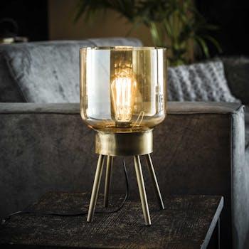 Lampe à poser vintage en verre ambré support 4 pieds LUCKNOW