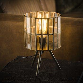 Lampe à poser vintage sur trépied verre métal vieilli RALF