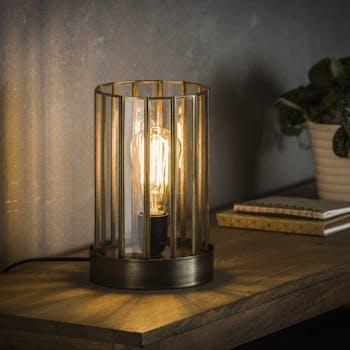 Lampe à poser vintage verre forme cylindre bronze vieilli RALF