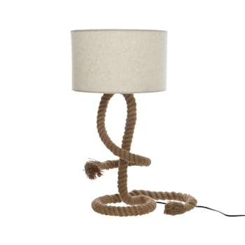 Lampe avec pied façon corde et abat-jour blanc D33xH65cm