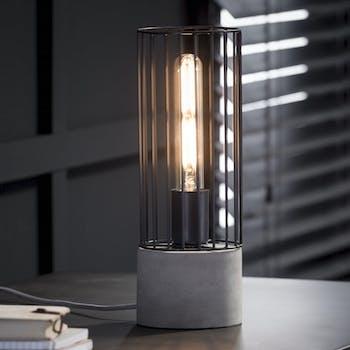 Lampe de table moderne béton acier