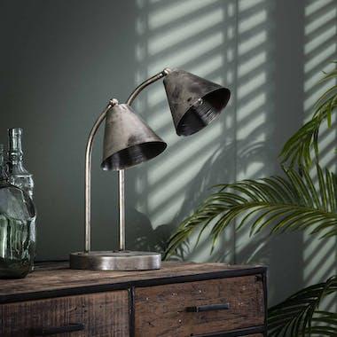 Lampe industrielle 2 abat-jour métal vieilli TRIBECA
