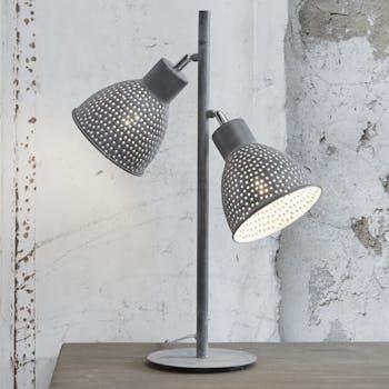 Lampe industrielle 2 abat-jours ajourés gris TRIBECA
