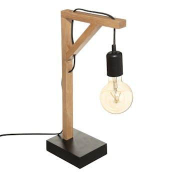 Lampe industrielle droite en bois et métal