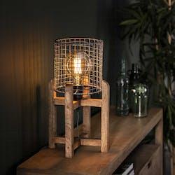 Lampe industrielle grillagée support bois de manguier LUCKNOW