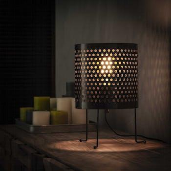 Lampe industrielle ronde abat-jour perforé TRIBECA