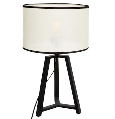 Lampe moderne trépied noir et ivoire