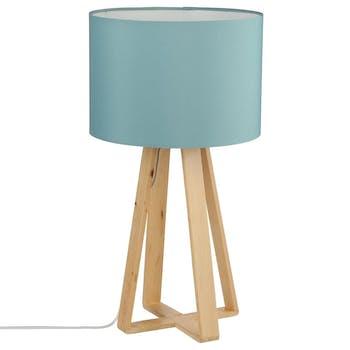 Lampe pieds bois naturel style scandinave et abat-jour bleu H47,5cm
