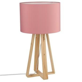 Lampe pieds bois naturel style scandinave et abat-jour rose H47,5cm