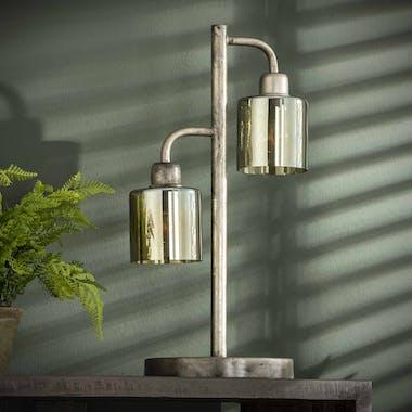 Lampe vintage verre ambré métal 2 lampes droites NIAGARA