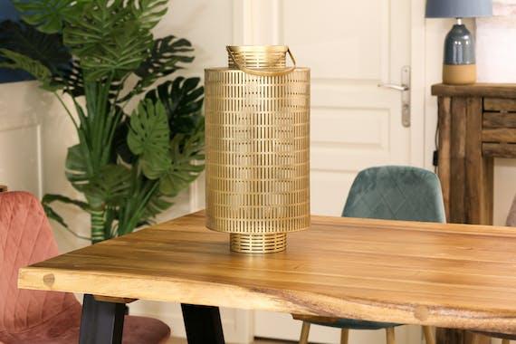 Lanterne ajourée en métal doré 51 cm