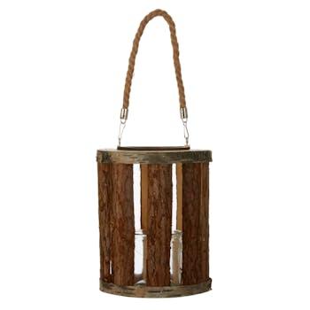 Lanterne avec anse marron H25xD21cm