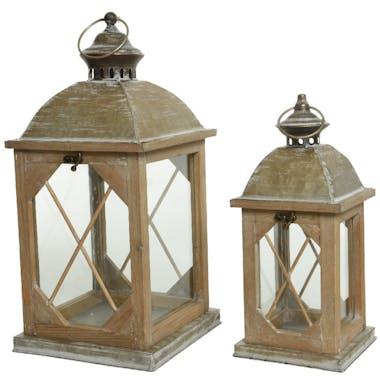 Lanterne en bois toit en zinc (lot de 2)