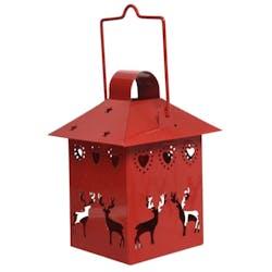 Lanterne en métal ajouré rouge décor Rennes H15cm