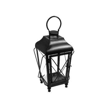Lanterne forme trapèze en métal et fil métal noir et verre à suspendre par crochet 22x22xH50cm