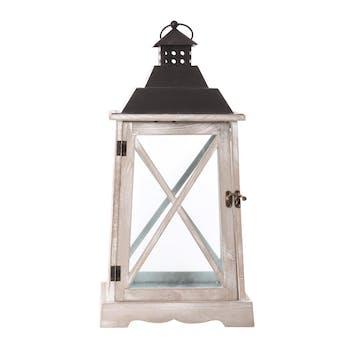 Lanterne romantique bois métal H52,5cm