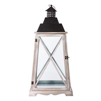 Lanterne romantique bois métal H69cm