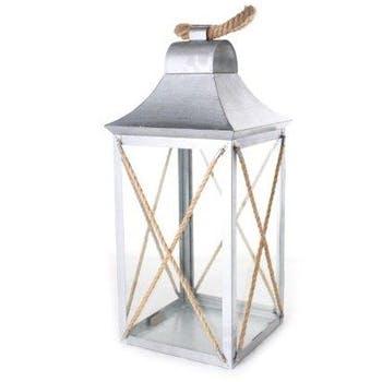 Lanterne verre en métal argenté et corde 18x18xH40cm