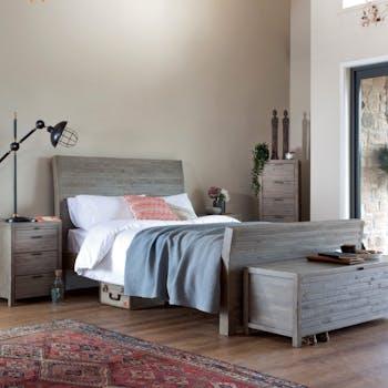 Lit 2 places bois recyclé grisé 180 cm SIENNE